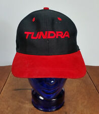 Toyota Tundra Trucker Hat Cap Snapback Suede Bill Vtg Black Red Truck Racing