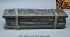 "10""Rare Tibetan Buddhism Temple Old Wood Xuan paper Scripture Diamond Sutra Book"