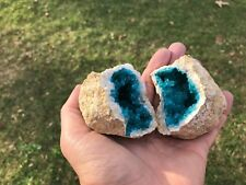 (1) TAN GEODE with a GREEN/BLUE CRYSTAL CENTER - (Both Halves)