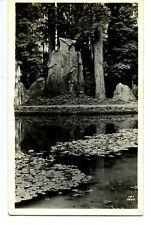 Pretty Scenic Park-Large Stone-Lily Pad Pond-RPPC-Vintage Real Photo Postcard