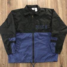 VTG Nike Spellout Blue Black Colorblock Lightweight Windbreaker Jacket L 14-16