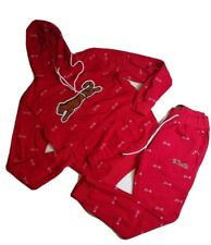 Le tigre mens 2p set 100% authetnic hoodie and pants size Medium red logo