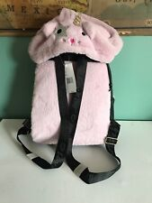 Betsey Johnson Luv Pink Kitty Unicorn Bunny Cat Hoodie Hooded backpack bag New