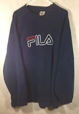 Vintage Fila Sweatshirt Xxl 90's Fleece Spell Out Big Logo Crew Neck Pull Over