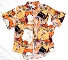 Vtg JAMS WORLD Rayon Hawaiian Shirt XL Dance Magazine Hula Girl Gilda Gray Ornge
