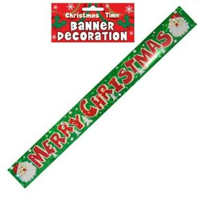 Merry Christmas Holographic Foil Banner Decoration
