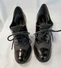 Linea Paolo Black Patent Leather Suede Oxford Heels  Sz.5M   *A44
