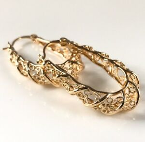 """9ct 9K Yellow """"Gold Filled"""" Ladies Girls 35mm Oval Hoop Earrings Gift Pouch"""