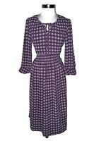 NEW BOBEAU Size L A-Line Dress Purple White Blue Geometric Long Sleeve Midi