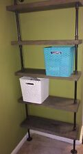 "Industrial Iron Pipe Five Shelf 2""x10"" (Pick your own stain)"