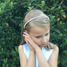 Silver Crystal and Pearl Flower Girl Headband Headpiece First Communion