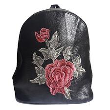 zaino donna eco pelle borsa zainetto nero vintage ricami fiori floreale 2018