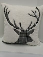 """Martha Stewart Collection Plaid Stag Fleece 18"""" Square Pillow,"""