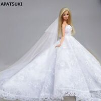 Pure White Lace Wedding Dress Outfit Clothes For Barbie Doll Clothes Accessories
