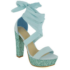 Womens Lace up Ankle Tie Block Glitter High Heel Ladies Platform Party Shoes UK 4 / EU 37 / US 6 Pastel Blue Faux Suede