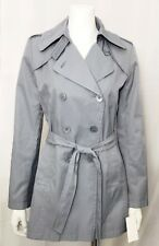 DKNY Donna Karan Jacket Trench Coat Double Breasted Belted Blue size Small Lined
