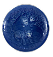 MOTHER'S DAY 1982 Plate Mors Dag Bing & Grondahl Lion With Cubs Denmark Blue