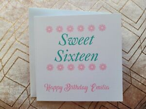 Happy Birthday card, Female Relation, Sweet Sixteen, 16th, personalised