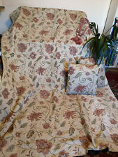 """PAIR TAPESTRY STYLE CURTAINS-TEXTURED/'EMBROIDERY'-LINED 65""""Wx90""""+TIES+CUSHIONS"""