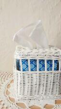 Vtg Woven Wicker Rattan White Cube Tissue Box Cover Holder