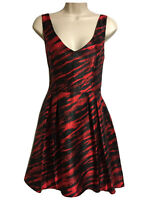 Stunning Womens UK 8 Red Black Evening Skater Dress Mini Fit & Flare Party