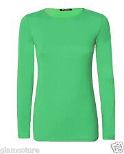 Womens Plain Tshirt Ladies Long Sleeve Scoop Neck T Shirt Top Plus Sizes 8-26