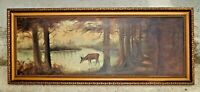 1800s Original Oil on Canvas Outdoor Nature Painting W/ Ornate Wood Frame