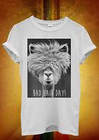 Bad Hair Day LLama Lama Hipster Men Women Unisex T Shirt Tank Top Vest 329