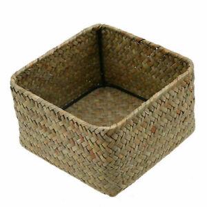 Handmade Storage Box Seagrass Woven Flower Basket Fruit Container Organizer