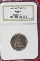1855 NGC AU50 Seated Liberty Quarter w/ Arrows!! #E1516
