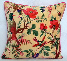 Beige Velvet Pillow Case Bird Print Decorative Throw Floor Indian Cushion Cover