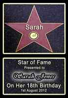 HOLLYWOOD STAR WALK OF FAME PERSONALISED A4 BIRTHDAY GIFT 13TH 16TH 18TH 21ST 1