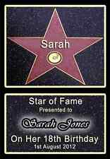 HOLLYWOOD STAR Personalised 21st 18th 16th Birthday gift keepsake +P&P