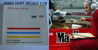 DECALS KIT 1/12 HELMET CASCO JAMES HUNT MCLAREN F1 FDS AUTOMODELLI
