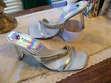 Je Matadi by Sean Mehta Open Toe Slide Heels SZ 10M Metallic Gold/Silver/Clear
