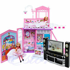 Hi-Fi TV Cabinet Set Dollhouse Furniture Decor Accessories For Barbie Dolls New