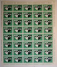 1967 ITALIA  20  lire Festival di Spoleto   foglio intero MNH**