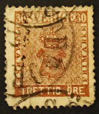 Timbre SUEDE / SWEDEN Stamp - Yvert Tellier n°10 obl (Cyn22)
