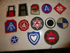 Vintage large lot of  WW-2 era U. S. Army Corp's & Armies patches