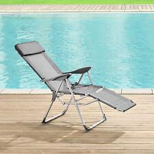 [casa.pro] Liegestuhl Relaxstuhl Campingliege Gartenliege Sonnenliege Stuhl Grau