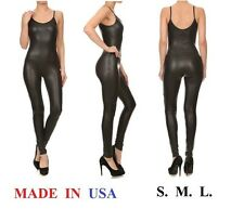 USA MADE FAUX LEATHER SPAGHETTI STRAP CATSUIT JUMPSUIT ONE PIECE UNITARD S M L