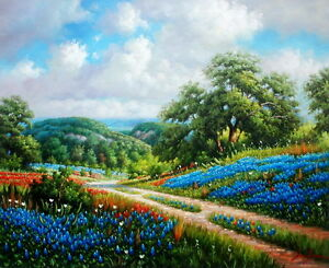 "Texas Bluebonnets Landscape 100% handmade Oil painting on canvas 20""x24"""