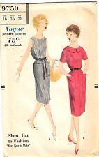 """Vintage 1950s Vogue Sewing Pattern Women's WRAP DRESS 9750 Sz 16 Bust 36"""" UNCUT"""
