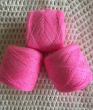 Lace yarn Crystal Color  *Pink*  Acrylic /Rayon.900 yards per ball.1 lot of 3.