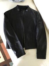 Stylish trendy Black soft natural leather basic jacket size S.