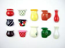 12 pots, vases & jugs, flat backed, Resin unusual assorted designs, Cardmaking.