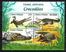 Animales Tipo cocodrilo St Thomas y Príncipe 269 serie 4 sellos matasellados