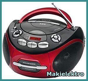 AEG SR 4353 CD/MP3 Radio-Tuner /CD-Player Rot/Schwarz Tragbare Stereoanlage
