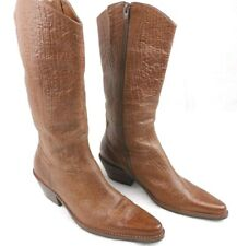"""Coconuts Women's Western Cowboy Boots """"Jaime"""" Mid Calf Tan/Brown Pointed Zip 8M"""