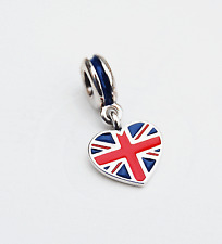 "Genuine Pandora Charm Bead ""Great Britain Heart Flag"" 791512ENMX - retired"